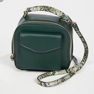 Free People Small Green Snakeskin Backpack